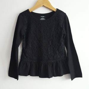 Other - 🆕️Toddler Black Lace Front Peplum Top